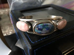 Jay King Australian 3 pink Coral &mosaic opal Sterling silver Cuff Bracelet for Sale in Naperville, IL