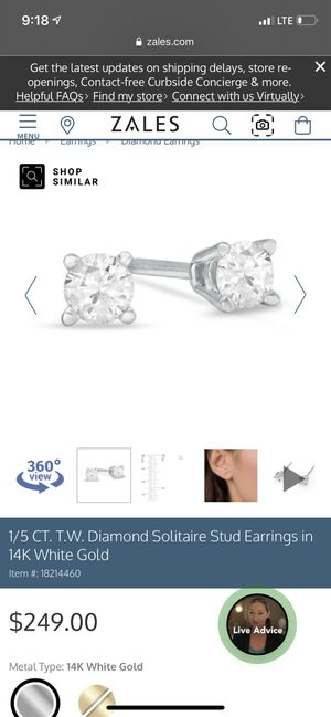 Zales diamond stud earrings for Sale in Spokane, WA