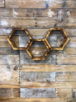 Honeycomb shelf, honeycomb shelves, wall hanging, wood , wood shelf, handmade, boho, home decor, wood decor, rustic for Sale in Riverside, CA