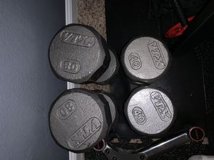 Two 80 pound & Two 40 pound dumbbells for Sale in Haslet, TX