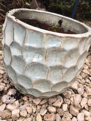 Heavy bluish white garden pot for garden diameter 11 height 12 for Sale in Davie, FL