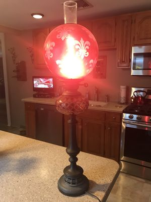 Antique ruby red hurricane lamp with etched design for Sale in Manasquan, NJ