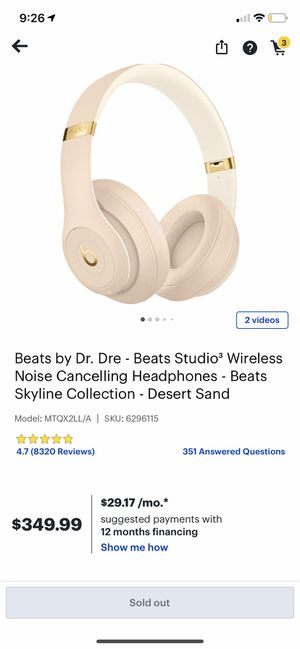 Beats By Dre studio 3 wireless headphones for Sale in Miami, FL