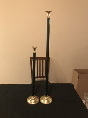 Two green and gold plated floor candle stick holders for Sale in Jonesboro, AR