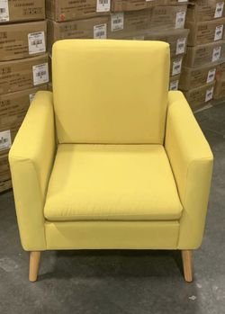 NEW $70 each 29x30x33 Inch Tall Modern Tufted Yellow Color Accent Linen Fabric Upholstered Arm Sofa Single Chair Contemporary Furniture for Sale in Covina,  CA