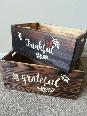 Grateful Thankful Wooden Basket Crate Lot for Sale in Sunnyvale, CA