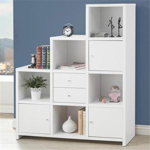 Coaster Company 801169 Bookcases Asymmetrical Bookshelf with Cube Storage Compartments - White for Sale in Houston, TX