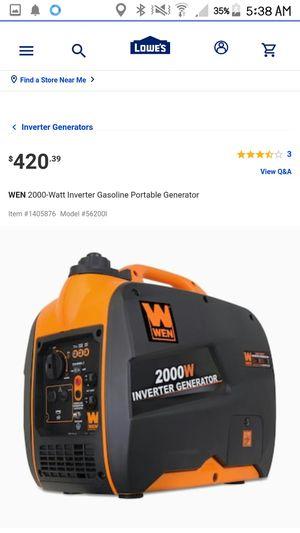 Wen 2000 watt generator for Sale in Philadelphia, PA