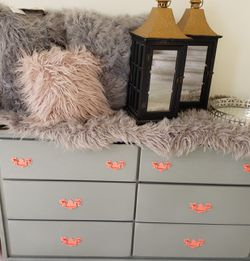 Custom painted Grey and Coral Dresser for Sale in Tacoma,  WA