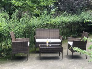 Brand New 4 Pieces Outdoor Patio Furniture Sets Rattan Chair Wicker Set, Outdoor Indoor Use Backyard Porch Garden Poolside Balcony Furniture Sets for Sale in Tucker, GA