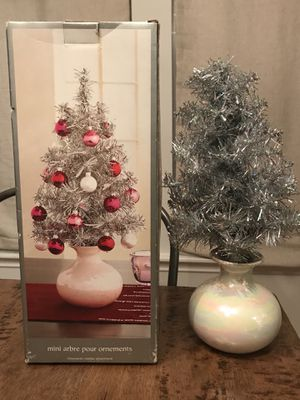 Mini Silver Christmas Tree with Base / Pot for Sale in San Antonio, TX