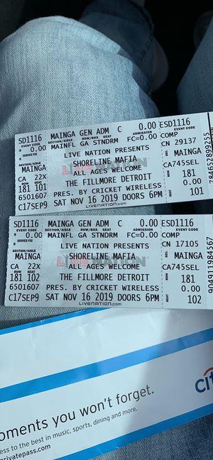 Shoreline mafia concert tickets for Sale in Southgate, MI