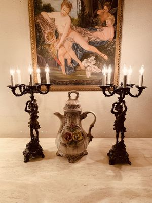 Antique Bronze Cherub Candelabra/Lamps - a pair for Sale in Palmdale, CA