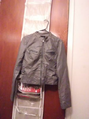 Grey leather jacket for Sale in Austin, TX