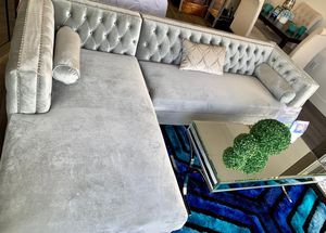 Grey velvet sofa sectional with storage ⭐️FINANCING AVAILABLE for Sale in Pompano Beach, FL