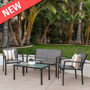 Modern 4-Piece Outdoor Patio Metal Conversation Furniture Set, Gray (Purchase via PayPal Invoice with Free Shipping) for Sale in Philadelphia, PA
