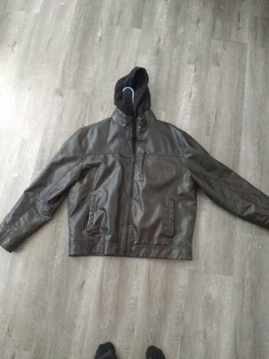 Calvin Klein leather jacket with detachable hoodie for Sale in Edgewater, FL