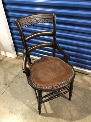 Antique chair leather padded seat for Sale in Annandale, VA
