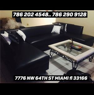 U shape black leather sectional sofa available for sale !!! for Sale in Miami, FL