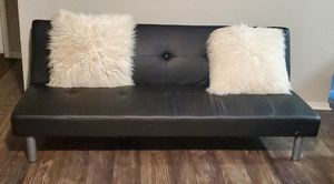 Black Leather Futon Sofa for Sale in Lucas, TX