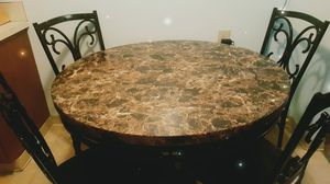 Marble Faux table and 4 chairs set for Sale in Puyallup, WA