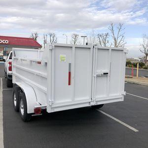 Dump trailer 2021- 12x8x4 doble eje 6000 lbs cada eje (12000) rampas para bodcat ducon freno electrico y de emergencia rines cromados y llantas de 80 for Sale in Modesto, CA