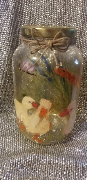 Handcrafted large farmhouse decor jar for Sale in Tampa, FL