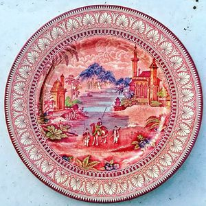 "Maling english red TRANSFERWARE 11.25"" plate round platter or charger for Sale in Saginaw, MI"