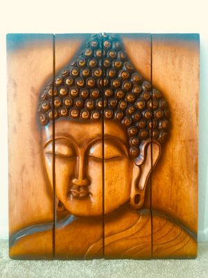 Rustic Wood Buddha Face Wall Sculpture, 4 - Panel Art for Sale in Stanton, CA