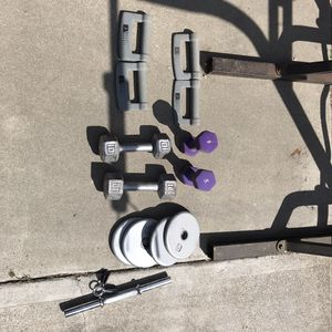 Random weights 60 lbs total and one short bar for Sale in Modesto, CA