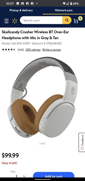 Skullcandy Crusher Wireless BT Over-Ear Headphone with Mic in Gray & Tan for Sale in Columbus, OH