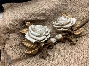 Vintage Mid Century Homco Set Of 2 White Roses Home Decor for Sale in Whittier, CA