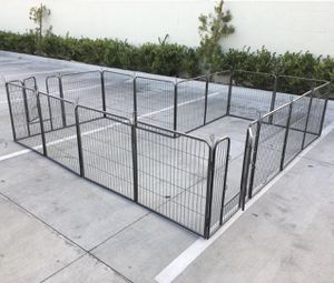 New in box 32 inch tall x 32 inches wide each panel x 16 panels exercise playpen fence safety gate dog cage crate kennel expandable fence perrera cer for Sale in San Dimas, CA