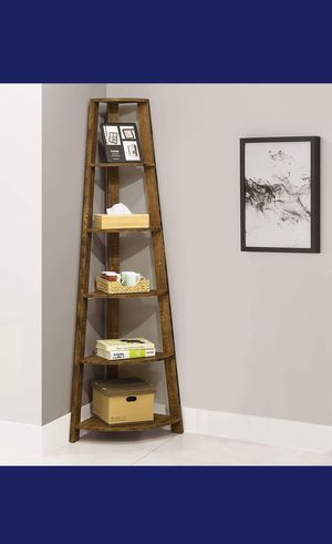 Amber Finish Wood Corner 5-Tier Bookshelf Bookcase for Sale in Holly Springs, NC