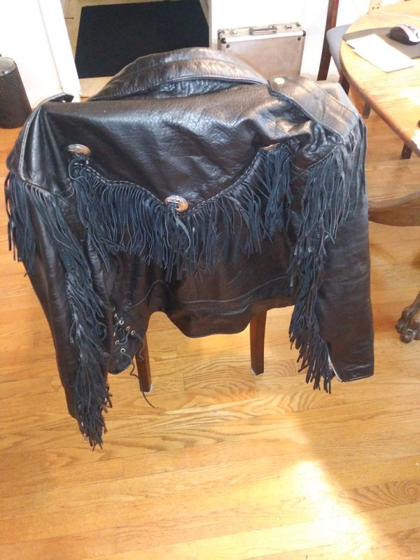 Womans leather fringe jacket size 50 new no linner 80.00