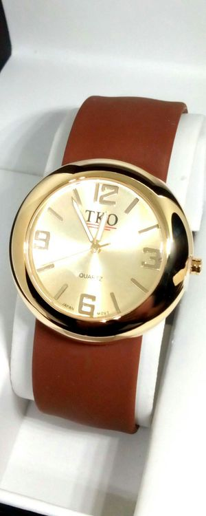 TKO Women's Gold Slap Brown Watch With Hypoallergenic Silicone Slap on Band Brand New in Box for Sale in Boca Raton, FL