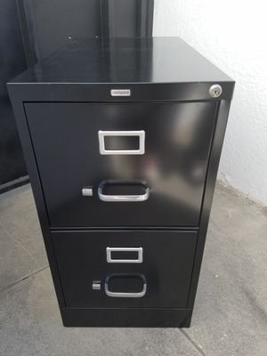 Real Space black 2 door locking filing cabinet w/ keys for Sale in Lynwood, CA