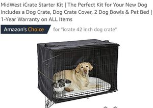 MidWest iCrate Starter Kit Includes a Dog Crate, Dog Crate Cover, 2 Dog Bowls&Pet Bed for Sale in Canal Winchester, OH