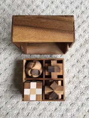 4 Wood Puzzle Games & their solutions for Sale in New Lenox, IL