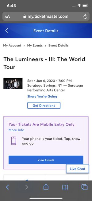 Lumineers concert tickets for Sale in Plattsburgh, NY