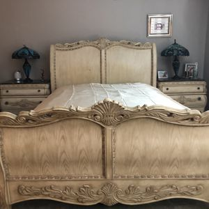 Bedroom Set, Queen, massive wood and marble for Sale in San Diego, CA