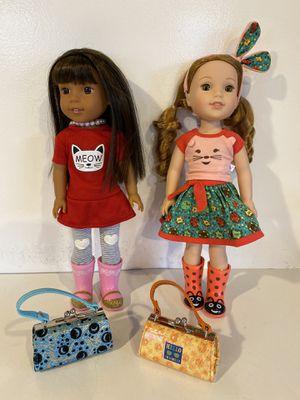 2 American Girl WellieWishers and Ashlyn dolls, plus 2 purses for Sale in Everett, WA