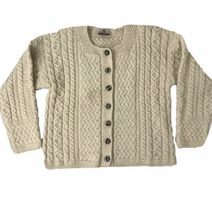 Carraig Donn Cable Knit Cream Wool Cardigan Sweater - Size S for Sale in South Windsor, CT