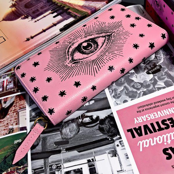 Gucci Pink Starry Garden Zip Around Wallet