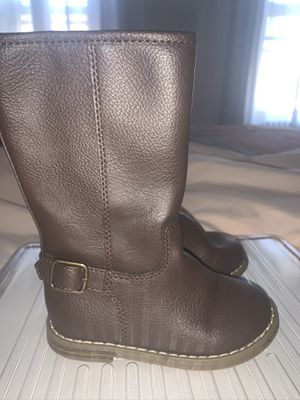 Brown faux leather girl biker boots 9c for Sale in Queens, NY