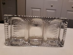 RareTRIPLE CLEAR DEPRESSION GLASS DESK INKWELL, PEN NIB HOLDER, PAPER CLIP HOLD for Sale in Columbus, OH