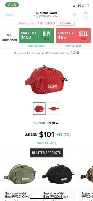 Supreme Waist Bag red (fw20) for Sale in Spring Valley, CA