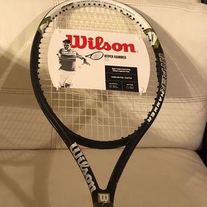 NEW! Wilson Roger Federer 5.3 Hyper Hammer Oversized Racket, Size 4 1/2 for Sale in Baytown, TX