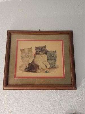 Vintage German cat pencil sketch painting picture, framed, signed for Sale in Glendale, AZ
