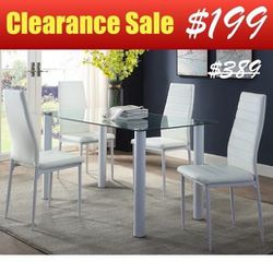 5pc White Dining Set (1 Glass Top Dining Table + 4 White Faux Leather Chairs) for Sale in Santa Ana,  CA